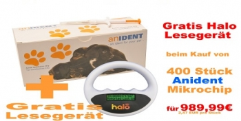 400x Anident Animal Identifikation Microchip + Halo Reader